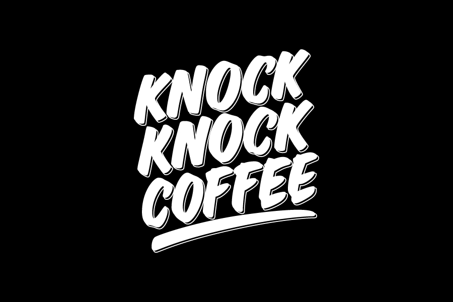 Vitaly Kuzmin lettering. Logo for KNOCK KNOCK COFFEE coffee shop.